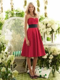 enchanting short satin red bridesmaid dress with black belt dresscab