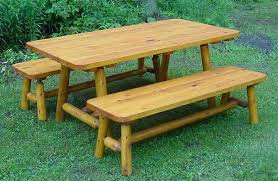 Indoor Picnic Table 6 U0027 Cedar Log Picnic Table W 2 Side Benches Cabin Style Rustic