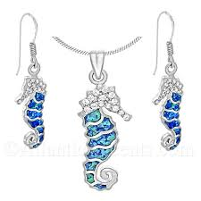 opal sterling silver necklace images 79 95 sterling silver sea horse necklace earrings set with jpg