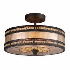 bronze metal mica glass semi flush ceiling light