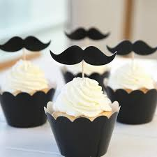 mustache cake topper 24pcs set groom cupcake topper black moustache cake