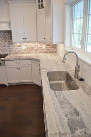 Gray Kitchen Gray Kitchen Cabinet With Brick Backsplash Wall And - Kitchen with brick backsplash