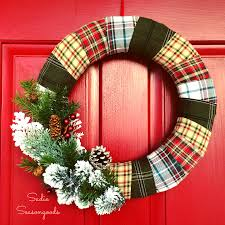 cozy repurposed flannel shirt christmas wreath