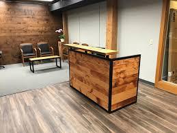 Reception Counter Desk Industrial Reception Desk Reclaimed Wood Desk Front Counter