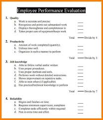 work performance evaluation sample employee performance