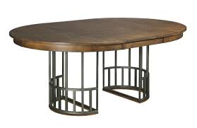 elements dining table with expanding metal pedestal base and one