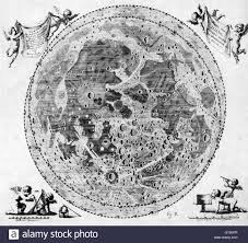 Moon Map Map Of The Moon By The Polish Astronomer Johannes Hevelius Stock