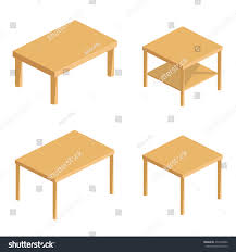 Wooden Table Background Vector Flat Set Vector Isometric Tables Table Stock Vector 473298562