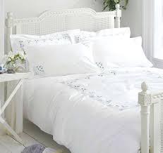 Vintage Duvet Cover White Cotton Bedding Bed Linen Vintage Embroidered Floral Duvet