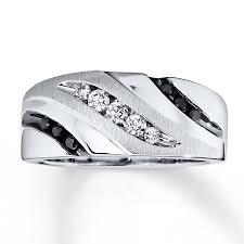 kays black engagement rings s band 1 3 ct tw black white 10k white gold
