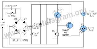 automatic night light with sensor automatic night l with triac circuit diagram