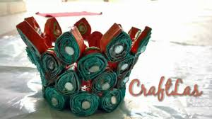 diy recycled newspaper basket making idea newspaper craft youtube