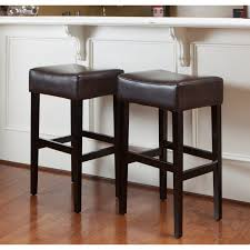 backless square brown leather padded bar stools with black wooden