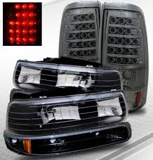 2001 silverado tail lights chevy silverado 1999 2002 black headlights and smoked led tail