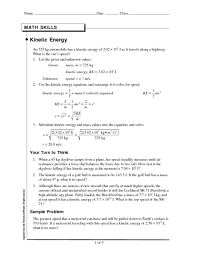 potential and kinetic energy worksheets free worksheets library