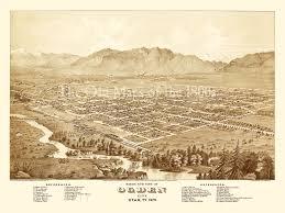 Birds Eye View Maps Ogden City Utah In 1875 Bird U0027s Eye View Aerial Map Panorama