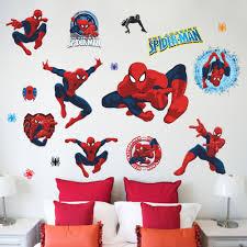 popular floor print art buy cheap lots from cartoon pvc spiderman wall stickers kids room decor diy home decals movie fans mural