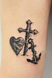 love heart cross and anchor tattoo for men and women