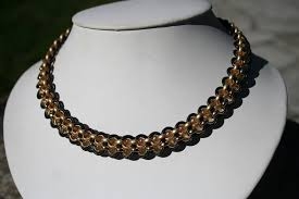 collar necklace leather images Chained leather collar necklace 2 strands of chain woven together JPG