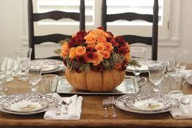 thanksgiving table setting diy flower pumpkin centerpiece