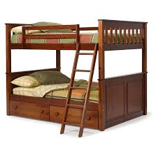brown oak loft bunk bed with wooden roof built in drawers ans