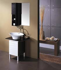 mirrored black bathroom storage cabinet with long glass rack