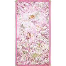 michael miller petal flower fairies panel pink discount designer