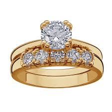 style wedding rings images 14k gold plated cz 2 piece wedding ring set 16576 limoges jewelry jpg