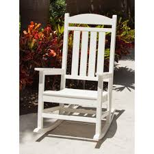 polywood presidential white patio rocker r100wh the home depot
