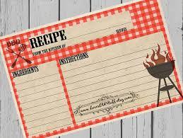 bbq printable recipe card 3x5 blank recipe cards 4x6 recipe