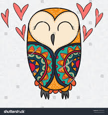 color cute decorative ornamental owl fall stock vector 395997979