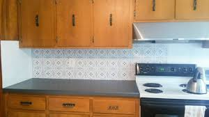 Kitchen Backsplash Wallpaper by Temporary Backsplash Using Renters Wallpaper U2013 Plaster U0026 Disaster