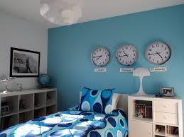 Soft Blue Color Small Bedroom With Wooden Furniture Set And Soft Blue For Boys