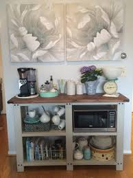 open shelving coffee bar and microwave shelf creative storage