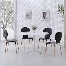 black table white chairs snowdon dining table white gloss top and 4 napoli black