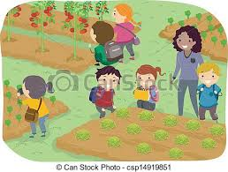 stickman kids trip to vegetable garden illustration