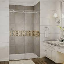 vigo elan 48 in x 74 in frameless bypass shower door with handle