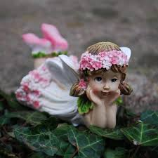 set of two laying flower fairy resin garden ornaments amazon co