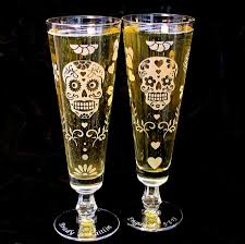 2 personalized sugar skull wedding glasses fluted pilsner glasses