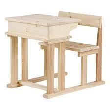 bureau ecolier 1 place wood pupitre droit enfant scandinave bois naturel pin brut massif