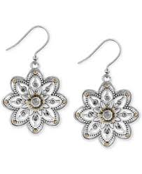 earrings brand lucky brand two tone openwork floral drop earrings jewelry