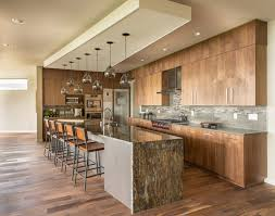 furniture long kitchen island with waterfall countertop and