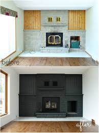 gorgeous dark grey brick painted fireplace as refinished with new