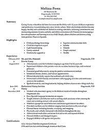 nanny resume exles nanny resume exle proyectoportal