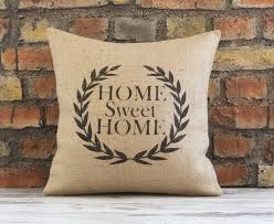 home sweet home pillow cover burlap feed sack pillow retro decor