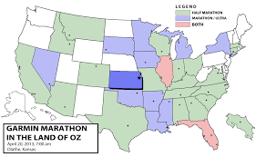 Map Of Oz State 32 Kansas 2013 Garmin Marathon In The Land Of Oz Dan U0027s