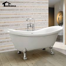 Double Bathtubs 1600mm Freestanding Slipper Bath Tub Double Ended Roll Top Slipper