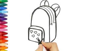 how to draw and color a backpack drawing and coloring a blue