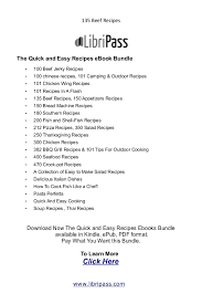 quick and easy resume 135 beef recipes ebook cookbook