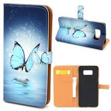 sea blue butterfly leather wallet case for samsung galaxy s8 s8